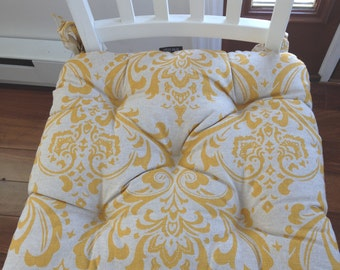 RTS Tufted chair pad, seat cushion, bar stool cushion, Traditions corn yellow on linen