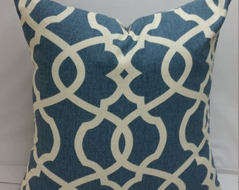 "RTS Pair ( two pillow covers ) Blue and ivory Magnolia geometric, 16"" square"