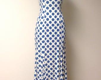 Vintage 1960s Bonwit Teller Blue Polka Dot Gown/Maxi Dress
