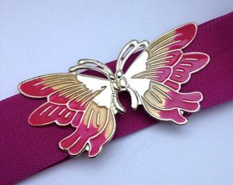 Vintage 80's Enamel Butterfly Belt Fuschia PINK