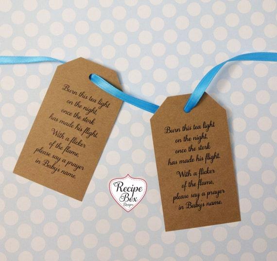 Baby Shower Favors Tea Lights ~ Baby shower tags favors burn this tea light