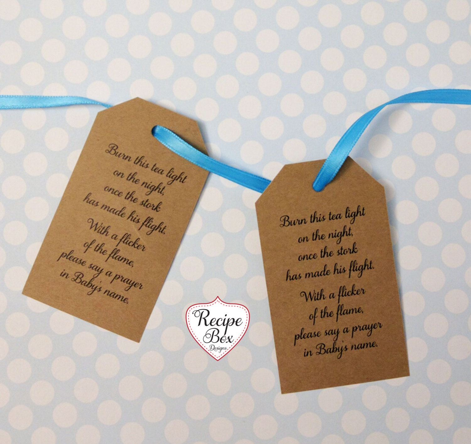 Baby Shower Tags Baby Shower Favors Burn this tea light