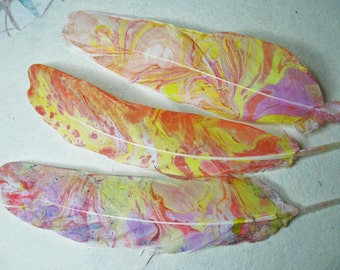 "Unique Feather Supplies, 3 Hand Marbled  7-1/2"", Colorfast Pinks, Corals, Purple Sunny Yellow, Gorgeous and Unique"
