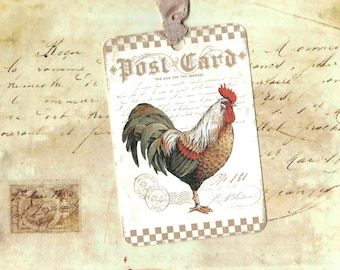 Farm House, Rooster Tags, Farm House Tags, French Farm House, Rooster
