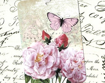 Rose Tags, Gift Tags, Butterfly & Roses, Birthday Tags, Party Favors, Pink Roses