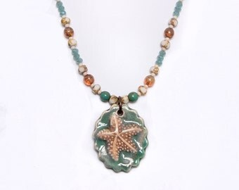 Beach Jewelry, Aqua Sand Starfish, Art Bead, Beaded Pendant Necklace cabbn28