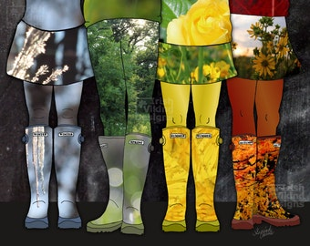 Four Seasons of Wellies, 8x10 inch art print, welly boots, Winter, Spring, Summer, Autumn Fall, botanical, flora, mud room, foyer, shoe art