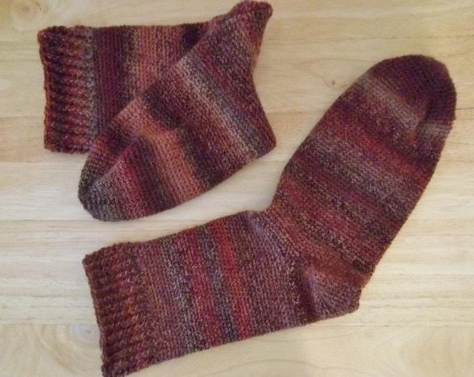 Socks - Crochet Socks for Men or Boys - Wool/Polyamid - US Size 8-9