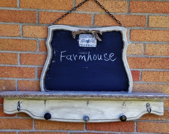 Farmhouse Coat Rack Chalkboard