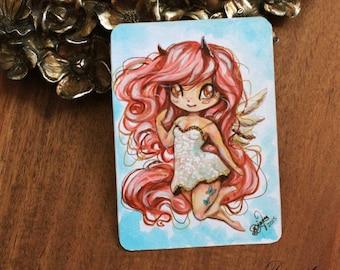 Lolis - Chibi character miniature art - ACEO Kawaii pegasus girl - Wings tattoo butterfly - Anime Manga Original - Free USA Shipping