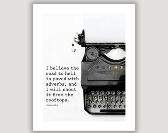 Stephen King Quote, writer gift, writer quote, office art, dorm decor, vintage typewriter, funny quote, grammar police, english teacher gift