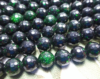 """27. Green Goldstone 8mm Faceted Round Bead 16"""" Inches Strand 50pcs Stone Bead"""