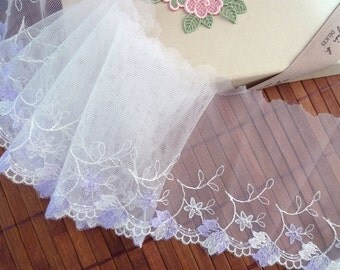 Embroidered lace trim, Floral lace trim, Embroidered tulle lace, Embroidered net lace, Bridal lace, Gray lace, 5 1/2 yards GY042