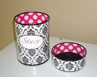 Black and White Damask Personalized Desk Accessories - Hot Pink Polka Dot Monogram Pencil Holder - Personalized Pencil Cup - 854