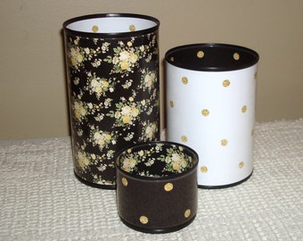 Black Gold White Floral and Polka Dot Desk Accessories, Pencil Holder, Pencil Cup, Office Desk Organizer, Yellow and Black Office Decor  672