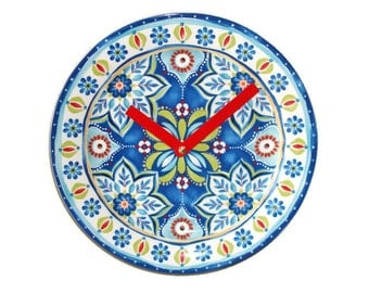 Plate Clock, Wall Decor,  Wall Clock,  Kitchen Clock, Mediterranean Home Decor - 1980