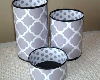 MORE COLORS Gray and White Quatrefoil Tin Can Desk Accessories, Polka Dot Pencil Holder, Pencil Cup, Desk Organization, Office Decor - 804