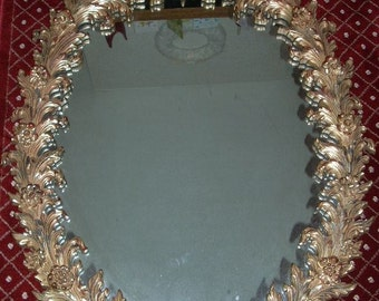 Mid Century Hollywood Regency Turner Mirror 48 x 32 Gold with Rosettes