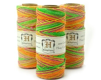 Hemptique Hemp Cord, 1mm, 20lb,   Hemp Twine, Neon Jewelry Cord, Neon Hemp 1mm  -T49
