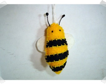 Bee Ornament/Felt/ Single Or Set of 2/ Handmade/MADE to Order**