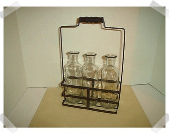 Metal Wire Basket with Handle/3 Glass Bottles/Aged Finish/Home Decor*