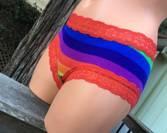 Low Rise Rainbow Stripe Pantie cotton/lycra FREE SHIPPING!!