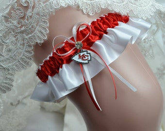 Kansas City Chiefs Theme Keepsake Wedding Garter- Bridal Garter- Sport Garter