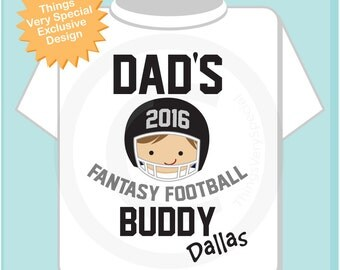 Boy's Fantasy Football Shirt, Personalized Fantasy Football Shirt, Dad's Fantasy Football Buddy Shirt or Onesie with childs name (08312011a)
