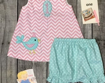 Little Birdie First Birthday Dress and Bloomers