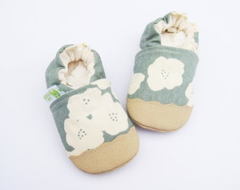 Organic Vegan Lightweight Canvas Poppies in Dusty Blue / non-slip soft sole baby shoes / made to order / babies toddlers