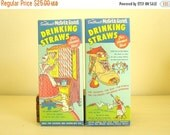 """Full box Mother Goose drinking straws by Sweetheart, 1940s 1950s classic graphics, working """"cupboard"""" door, straws intact, vintage film prop"""