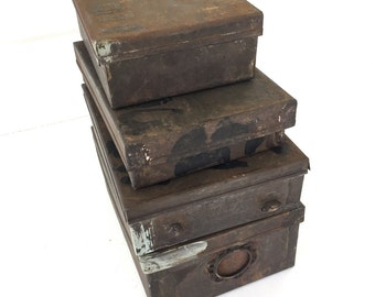 Vintage Industrial Tin Boxes Stack of 4 Jewelry Factory Findings Storage