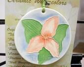 TRILLIUM Ceramic-Watercolor Ornament for wall or tree plus free gift wrap, original, 100% handmade
