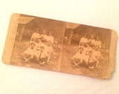 1800s Stereoscopic Photo - Men Bros Hanging Out - Sepia