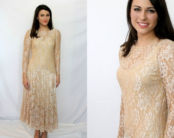 Elegant Peach Cream Lace Dress - Drop Waist - Bridal Getaway Engagement - Women 4 - 8