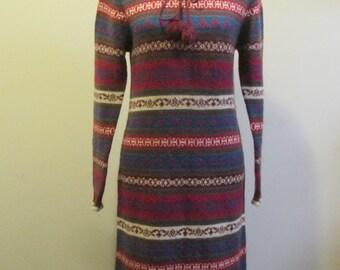 Vintage ESPRIT PLAIN JANE Drawstring Neck Red Brown Nordic Long Wool Blend Sweater Dress M