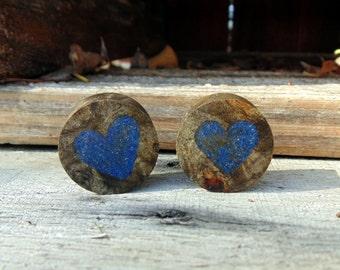 My Rustic Heart, 22mm pair of Buckeye burl gauges Lapis Lazuli Heart inlay