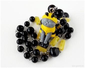 Ugly Cat Necklace, Black, Yellow, Stainless Steel, Creepy Cute, Kawaii, Harajuku, Street Fashion, Cat Lovers
