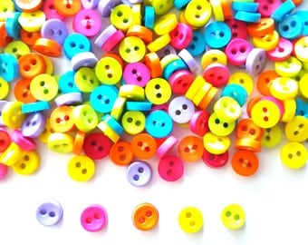 100 pcs Tiny Buttons micro buttons 2 holes size 6mm mix pink blue green yellow orange purple
