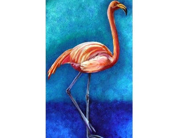 Flamingo Painting, Flamingo Art, Pink Flamingo, Original Oil Painting, Bird Painting, 12 x 24, Helen Eaton