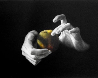 """Original art print """"The Apple"""". Right part of the triptych. Mezzotint with Chine Colle. Edition of 100."""
