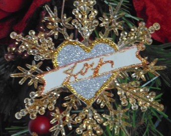 CLEARANCE!! Golden Glittered Snowflake Ornaments Set of 6
