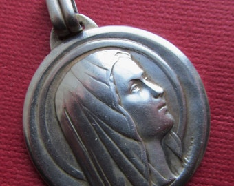 Vintage French Silver Virgin Mary Religious Medal Lourdes Pendant Signed Charl   SS434