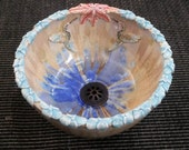 "MADE TO ORDER Sculptural Rim Combination Flowers and Hummingbirds Your Color Crystalline Glazed Handmade Vessel Sink Up to 15"" in Diameter"