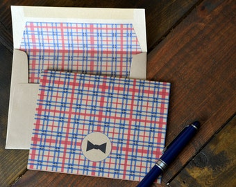 Men's Gift of Boxed Notes for Father's Day - Tartan Pattern Set of 8 with icons of dogs, tools, beard, ties, guitar, headphones