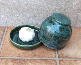 Butter dish garlic roaster baker hand thrown stoneware ceramic pottery