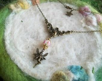 Fairy Necklace Bronze Filigree Fairy Pendant Vintage Fairy Necklace Retro Victorian Filigree Charm