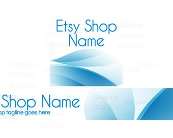 Etsy Shop Banners - Etsy Banners - Modern Etsy Banners - Blue Etsy Shop Banners - Etsy Banner Sets - 2 Piece - 3-16