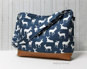 Navy Deer Buck with Vegan Leather - Messenger Tote Bag /  Diaper Bag -  Medium / Large Bag  SALE