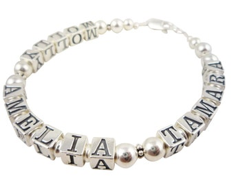 Beautiful & elegant personalized bracelet for Moms and Grandmas. Made with the children's names or her personalization